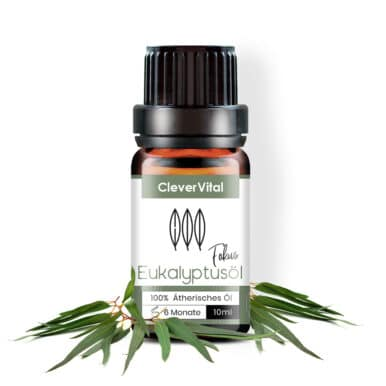Fläschchen Eukalyptusöl umgeben von Eukalyptusblättern